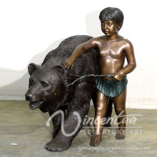 outdoor garden decoration metal craft life size bear and boy statue