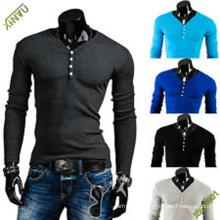 OEM Moda China Long Sleeve T-shirt em algodão em branco para os homens