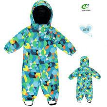 Insulated windproof waterproof overall colorful kids snow suit with reflective details