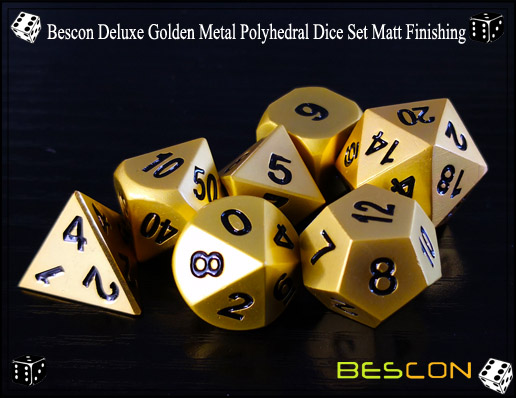 Bescon Deluxe Golden Metal Polyhedral Dice Set Matt Finishing-3