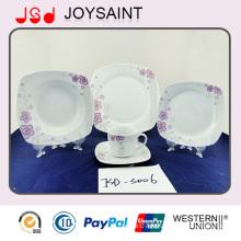Tasse carrée de dîner de la forme 18PCS de qualité d'OEM avec la porcelaine en céramique