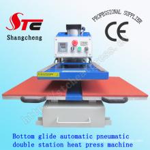 Machine de transfert de chaleur de T-shirt de Glide de fond 50 * 60cm Machine de presse automatique de T-shirt de machine de presse de chaleur de double station automatique de Stc-Qd07