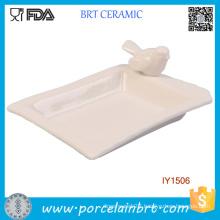 Custom Little Bird High White Ceramic Soap Dish Holder