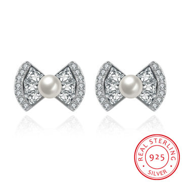 925 Sterling Silber Bowknot Form Shell mit Zirkon Ohrring