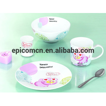 Cute decorated food safety porcelain 3 to 5 piece ceramic dinnerware set breakfast set for kids