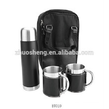 color gift box hot seller stainless steel vacuum water flask with carry strap 750ml +2*300ml with black leather