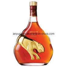 Vente en gros ronde Super Flint Glass Whisky Brandy Xo Bouteille pour vin, boissons alcoolisées