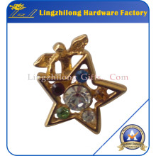 Insignia del ángel del diamante artificial del oro 3D
