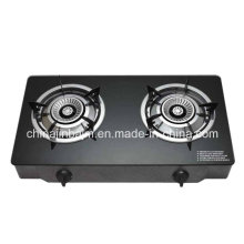2 Burners Tempered Glass Top Brass 120mm Stainless Steel Burner Cooker/Gas Stove