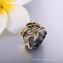dernières anneaux de mariage en or noir or mode hommes noirs anneaux de corail bijoux