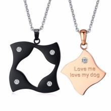 projetos extravagantes de cristal de aço inoxidável pingente duplo zodíaco colar de jóias para meninas