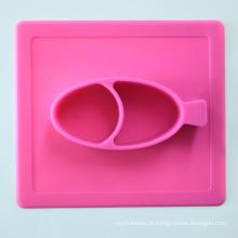 Esteira nova do silicone do bebê do projeto com grupo da bacia de jantar