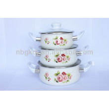 enamel casserole sets with glass lid and bakelite handle