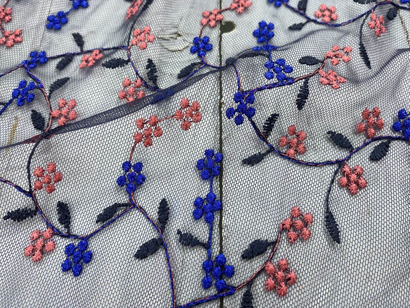 Garment Multicolor Inflorescence Embroidery On Nylon Mesh