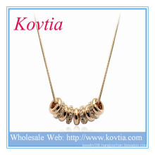 Fasihon Gold And Crystal Nine Rings In Thick Gold Tone Snake Chain Necklace