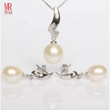 Conjuntos de jóias de prata com pérolas brancas e CZ