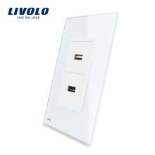 Livolo Dual USB Port Chargeur Prise Avec Prise De Verre Cristal Perle Blanche 2.1A, 5V VL-C592U-11
