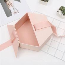 Custom Design Rigid Cardboard Magnetic Double Door Paper Hexagon Sweet wedding Bridesmaid Pink Gift packaging Box with Ribbon