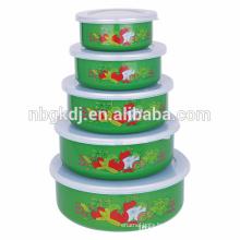 5 pc enamel ice bowl of green &Chinese fashion