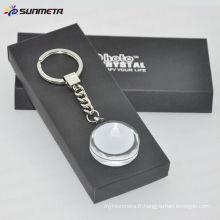 Porte-clés en cristal vierge Sublimation avec revêtement blanc bon pour promotion cadeau brithday