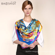 New design hot sale top quality logo print silk scarf