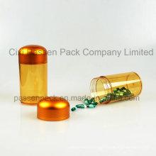 Amber Plastic Pharmaceutical Jar para óleo de peixe embalagem utilização (PPC-PETM-013)