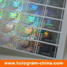 Etiqueta engomada del holograma del número de serie transparente antifalsificación 2D / 3D
