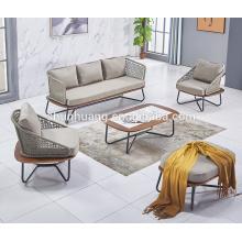 Modern style leisure webbing sofa set waterproof outdoor rope furniture for garden use