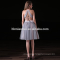 2017 new fashion facotry supply elegant bridesmaid dress 2pcs set laced halter bridesmaid short dresses in grey color