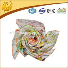 Turkish Printed Pattern Silk Material Wholesale Solid Color 100 Silk Satin Square Scarf For Women