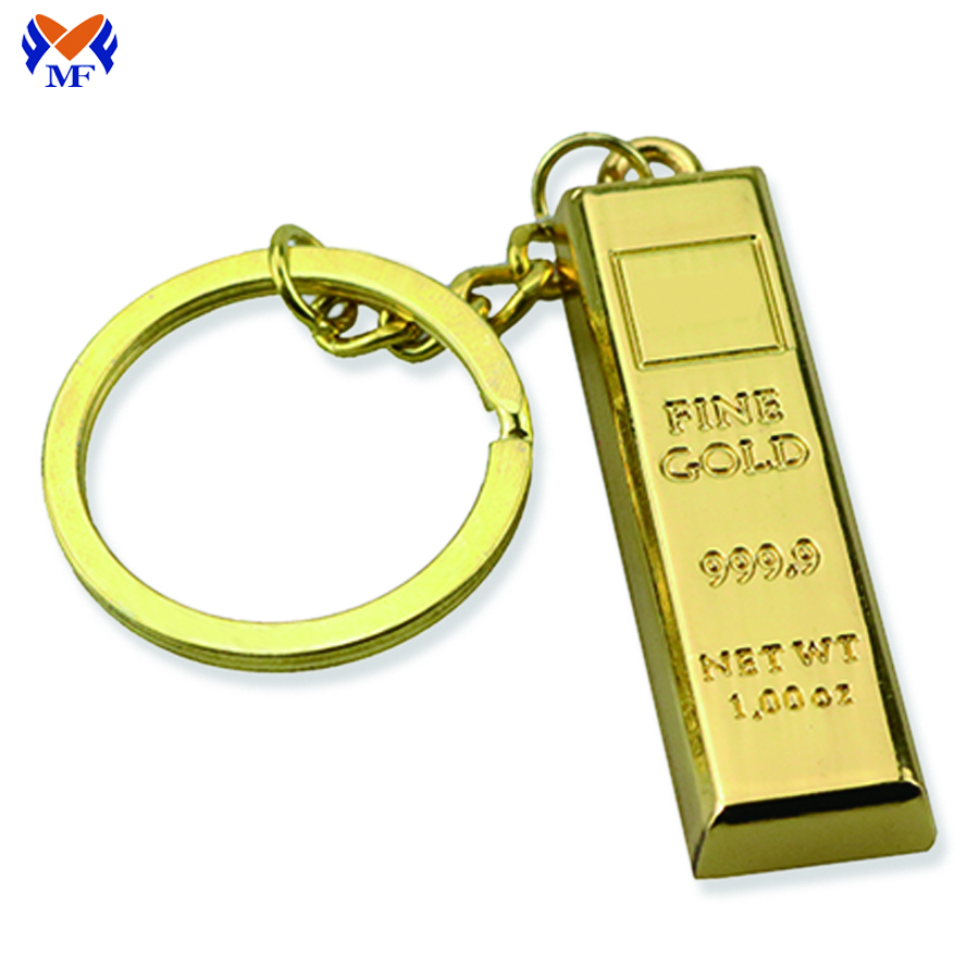 Metal Gold Bar Keychain