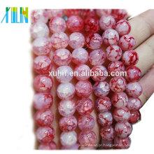 Quartzo de cristal 10mm red rodada imitação jade crackle contas de jóias