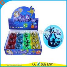 Novelty Design Kid's Toy 65mm Glitter LED Flashing Halloween Printed Light-up Hi Bouncing Ball
