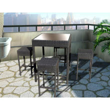 Outdoor Wicker High Dining Bar Table Set