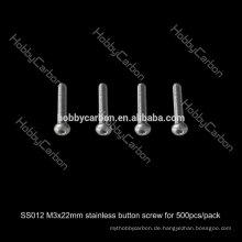 SS012 500 teile / los Heißer Verkauf Hobby Carbon M3 * 22mm Hex Taste Edelstahl Schraube Preis