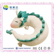Boneca de dragão branco bonito boneca de pelúcia travesseiro em forma de u