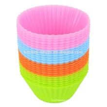 La alta calidad barata BPA libera los diseños suaves no-pegajosos flexibles de la magdalena Muffin del silicón que cuece copas, silicón que cuece al horno la taza del mollete de la cacerola