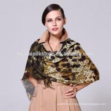 Leopardo estampado lana pura lana bufanda