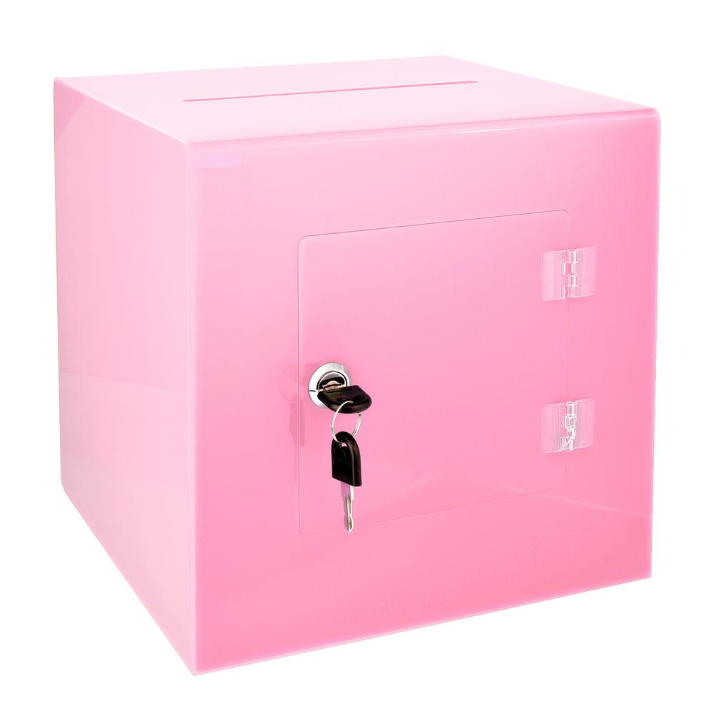 Acrylic Suggestion Box With Lock Pink