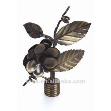 S11 Antique brass leaf shape curtain rod finials