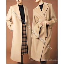 Abrigo largo de cachemira 100% femenino con botón y correa