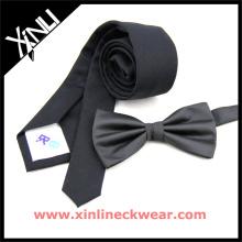 Corbata de algodón negra, corbata pre-atada viernes Corbatas de microfibra negra