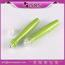 SRS China Wholesale Empty packaging for roll on With crew lid,unique shaped bottles 15ml green with metal ball