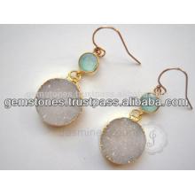 Позолоченные Драгоценный Камень Ювелирные Изделия Оптовая Продажа 925 Стерлингового Серебра Серьги