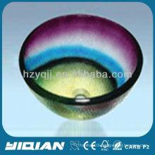 Colorful Modern Design Round Type Hangzhou Glass Sink Vessel