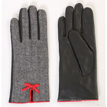 Lady Fashion Sheepskin Leather Driving Dress Gloves (YKY5169-3)