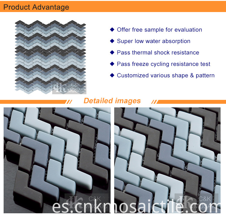 Grey Blue Chevron Glass Mosaic Tile on Sale