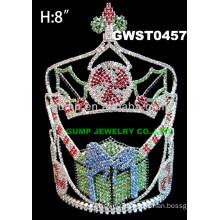 Christmas gift design rhinestone tiara custom crystal crown