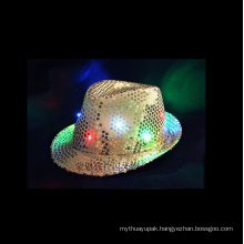 LED Flashing Fedora Sequins Hat Neon Color