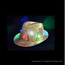 Светодиод мигает Федора блестки шляпа неоновый Цвет